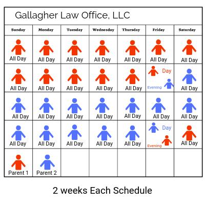 2 weeks schedule calendar parenting time