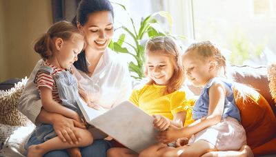 Mom helping children cope with divorce